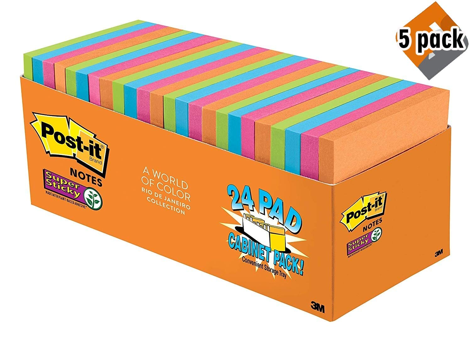 Post-it Super Sticky Notes, Orange, Green, Blue, Pink, Yellow, 2X The Sticking Power, Great for Windows, Doors and Walls, Value Pack, 3 in. x 3 in, 24 Pads/Pack, 70 Sheets/Pad (654-24SSAU-CP), 5 Pack