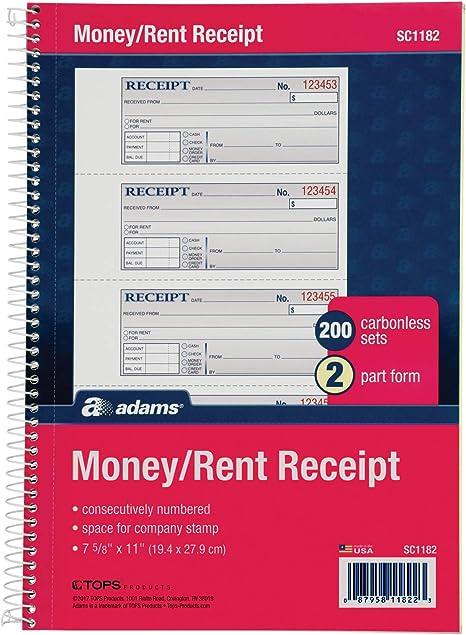 2-Part Carbonless 5 1//4 x 11 Inch Detached Money and Rent Receipt Book spiral