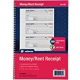 "Adams Money and Rent Receipt Book, 2-Part Carbonless, 7-5/8"" x 11"", Spiral Bound, 200 Sets per Book, 4 Receipts per Page (SC1182)"