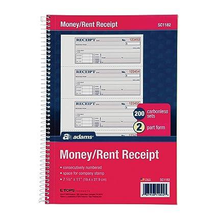 amazon com adams money and rent receipt book 2 part carbonless 7