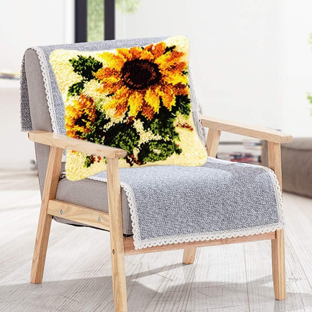 Kingsea Latch Hook Kit Bird DIY Throw Pillow Cover Sofa Cushion Cover 16X16 inch Animal Pattern Paint Cross Stitchl