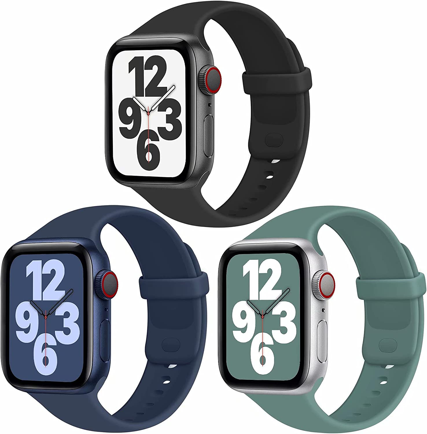 JuQBanke Sport Bands Compatible with Apple Watch Band 38mm 42mm 40mm 44mm, Soft Silicone Sport Band Replacement Strap Compatible with iWatch Series SE 6 5 4 3 2 1 Women Men (C 42mm 44mm)