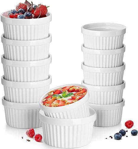 Desserts Ramekins for Baking Quiche Soups 6 Oz,6pcs Snacks Souffle Dish Ramekins Porcelain Serving Bowls for Creme Brulee