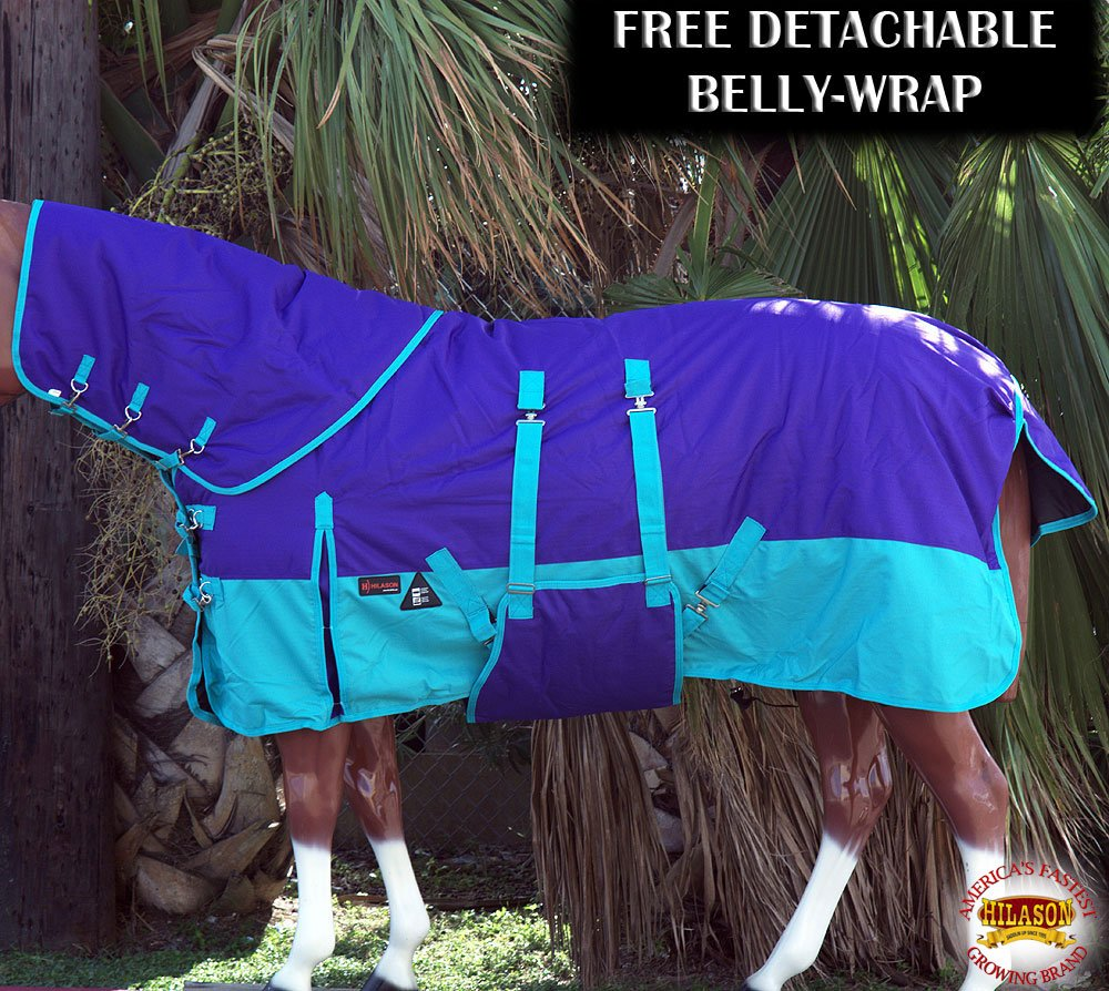 HILASON 1200D Horse Winter Blanket with Detachable Neck Water Proof (Many Colors and Prints) - All Blankets Have Detachable Belly wrap.