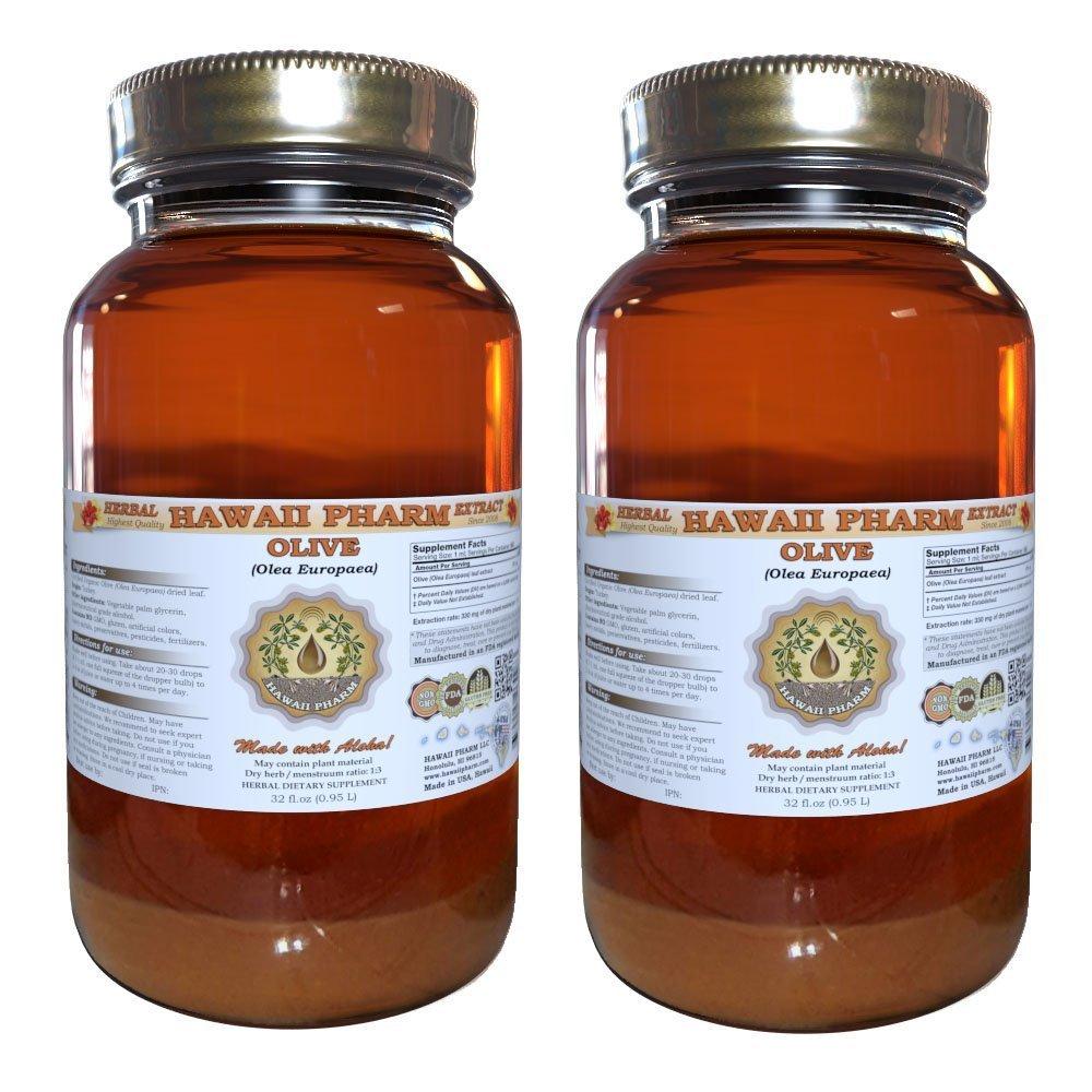 Olive Liquid Extract, Organic Olive (Olea europaea) Tincture, Herbal Supplement, Hawaii Pharm, Made in USA, 2x32 fl.oz