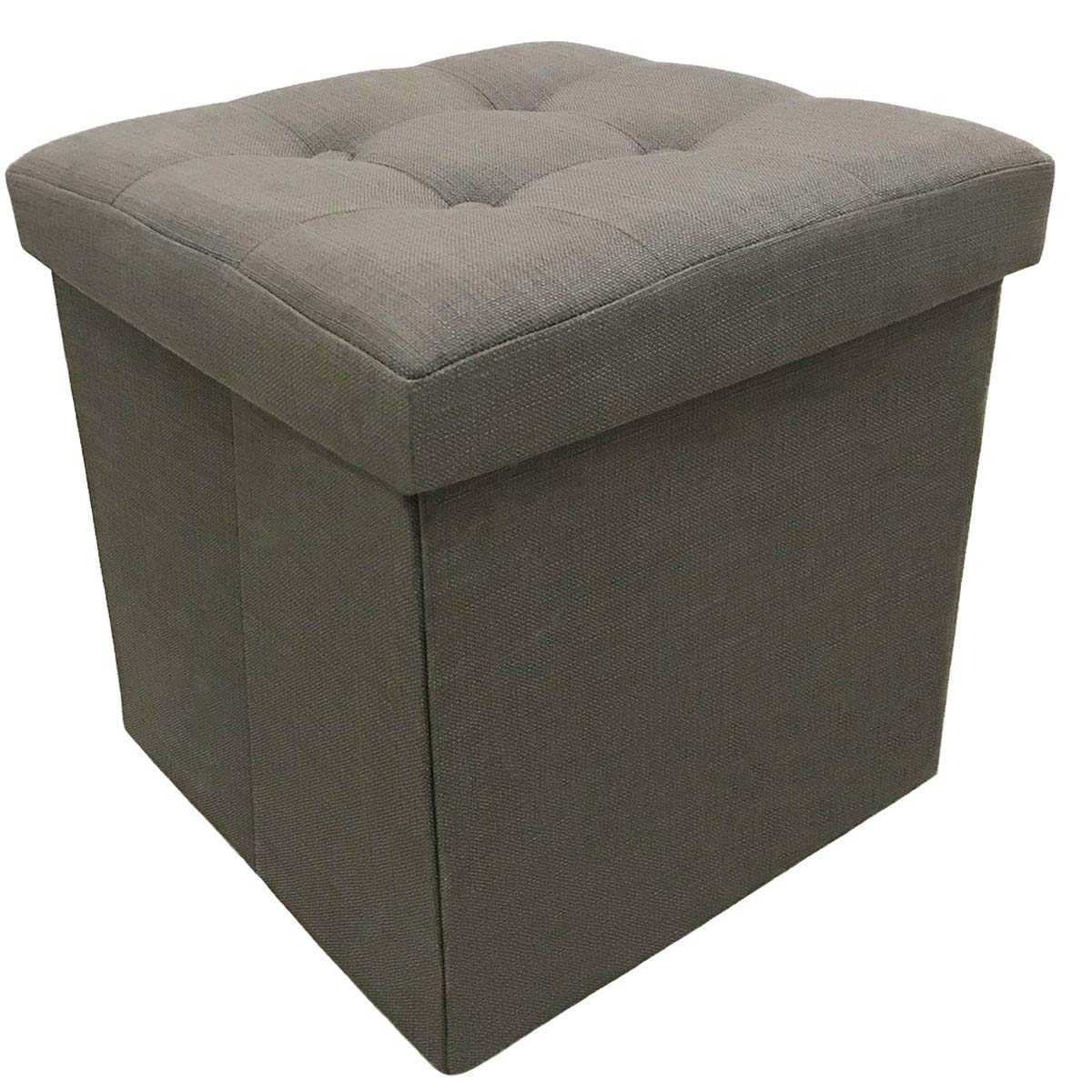 CC EFIND Storage Cube Ottoman Seat Foldable Footstool Bench Collapsible Storage Chest Folding Stool Linen Gray