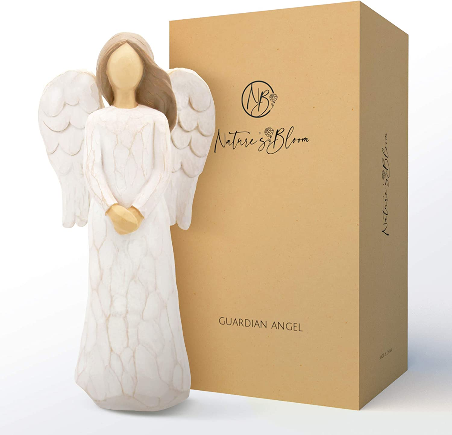 Guardian Angel Figurine for Women – Hand Carved with Gift Box, Guardian Angel Collectible Figurine - Encouragement Present- Gift to Show Love, Sympathy, Gratitude, Bereavement, Friendship or Prayer