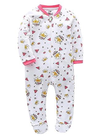 a989e7bde031 Marquebaby Baby Boys  Footed Pajama - 100% Cotton Zip Front Sleep ...