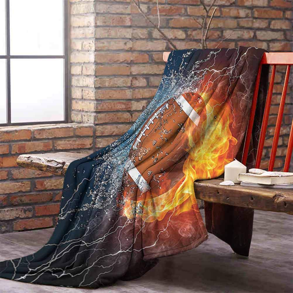 Fur Blanket Sports Decor Collection Football on Fire and Water Flame Splashing Thunder Lightning Abstract Print Navy Orange Peru White W59 xL35
