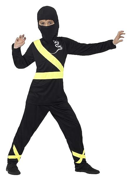 Smiffys Disfraz de Asesino Ninja, Negro y Amarillo, con ...