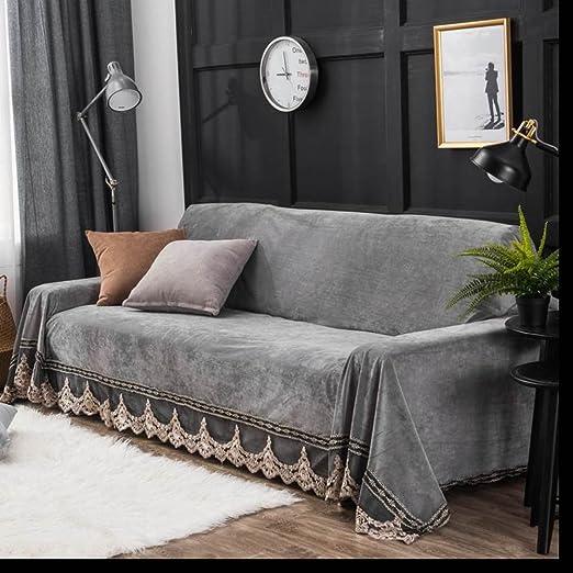 HYDBFKJUBVFU Funda de sofá de Felpa,Encaje Vintage Suede ...