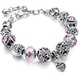 Sansar India Valentine Pandora Floral Rose Heart Charm Crystal Murano Glass Beads Bracelet for Girls and Women