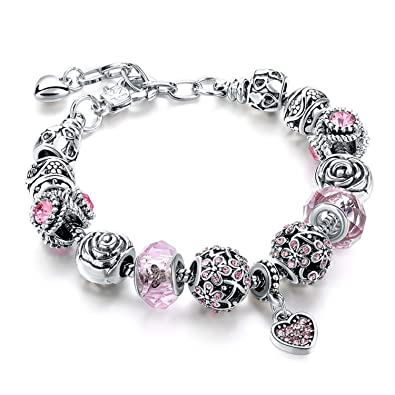 7c4bf9b15 Sansar India Valentine Pandora Floral Rose Heart Charm Crystal Murano Glass  Beads Bracelet for Girls and Women: Amazon.in: Jewellery