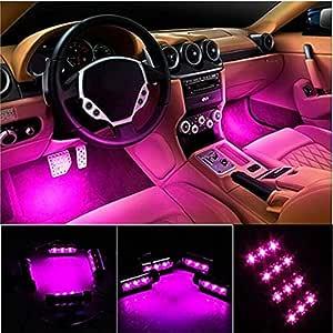 Car LED Strip Light, EJ's SUPER CAR 4pcs 36 LED Car Interior Lights Under Dash Lighting Waterproof Kit,Atmosphere Neon Lights Strip for Car,DC 12V(Pink)...