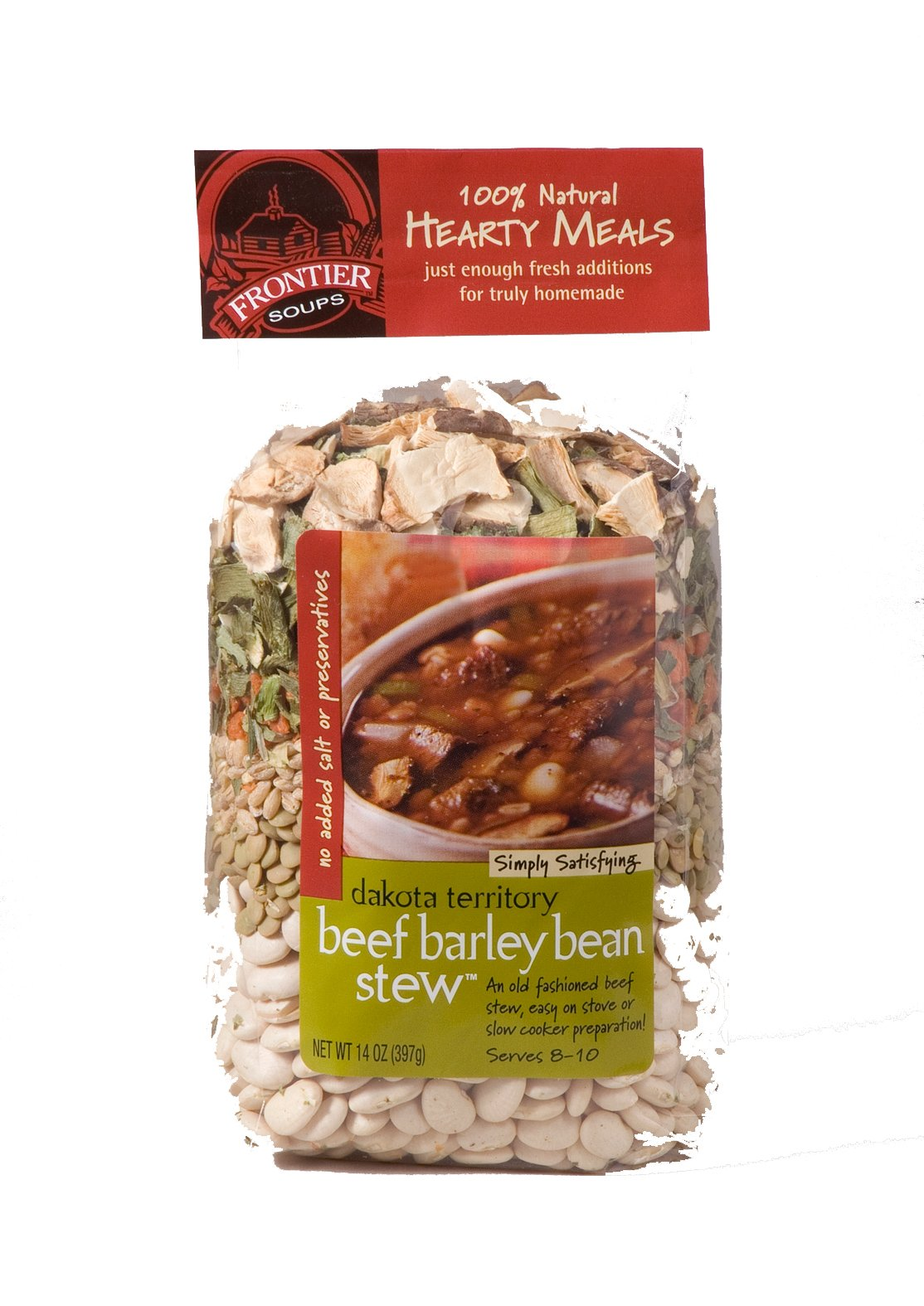 Frontier Soups Hearty Meals Dakota Territory  Beef Barley Bean Stew, 14-Ounce Bags (Pack of 4)