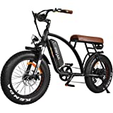 Electric Bicycles 48V 500W Motor Ebikes For Adults 10.4Ah Lithium Battery 20 Inch Fat Tire Electric Bikes Front Suspension Fork With Throttle Pedal Assist M-60 2018 Fit For Men Women (Red)