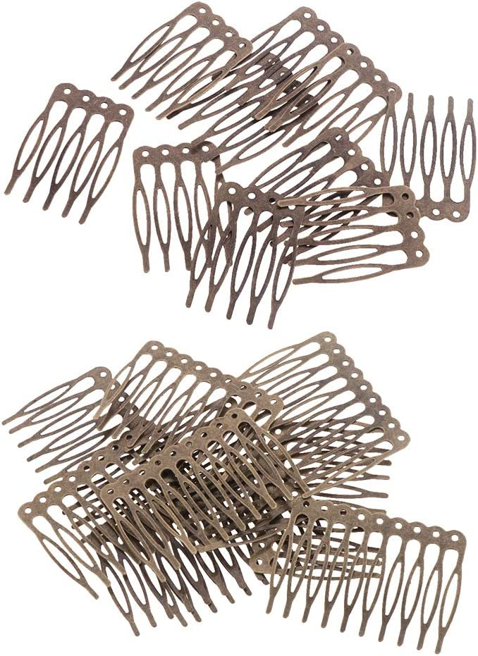 Vintage Silber leere Metall 5//10 Zähne Haarkamm Braut Haarschmuck diy
