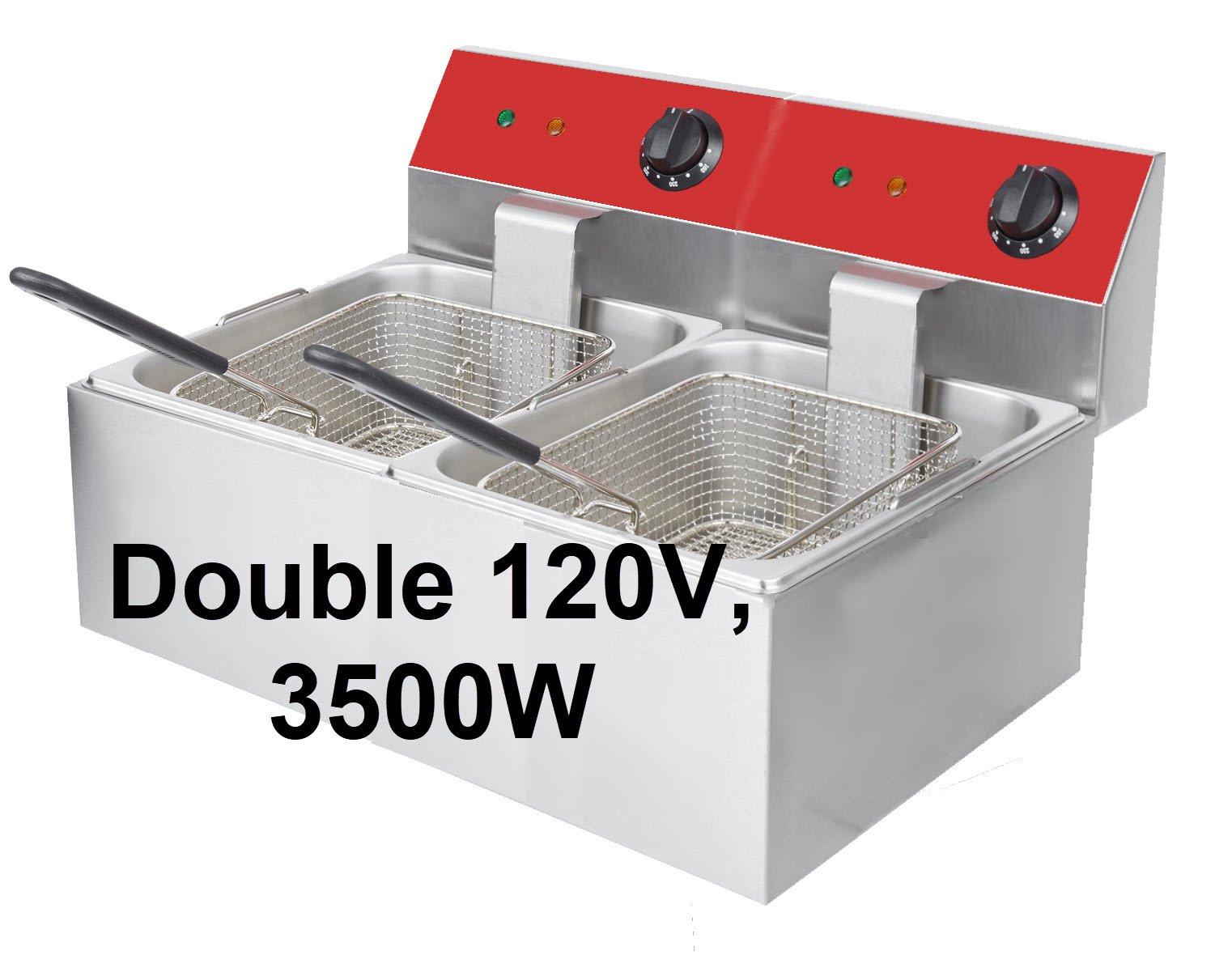 Dual Tank 20 Lb Electric Counter-top Fryer 120V 3500W