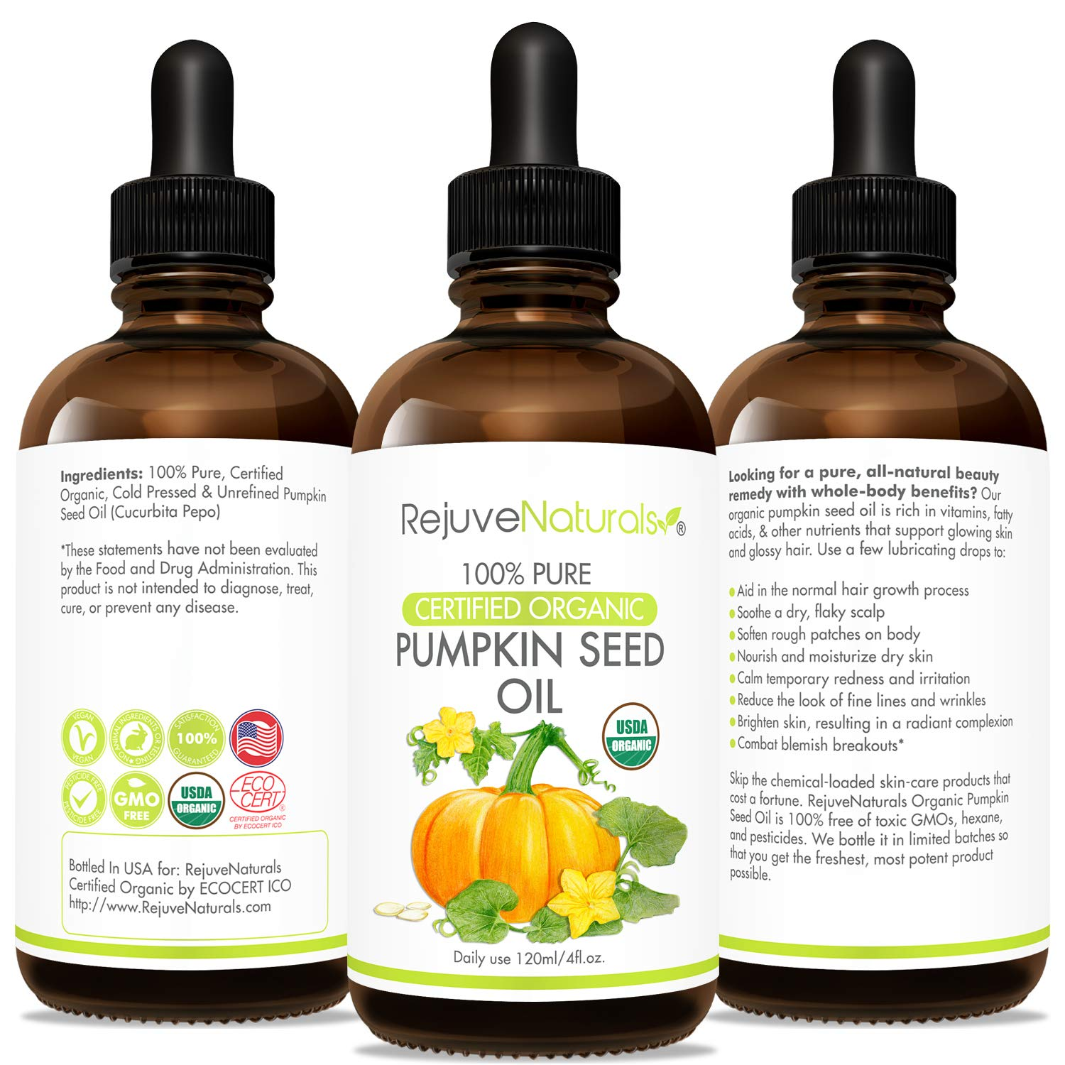 Organic Pumpkin Seed Oil (LARGE 4-OZ Bottle) USDA Certified Organic, 100% Pure, Cold Pressed. Boost Hair Growth for Eyelashes, Eyebrows & Hair. Overactive Bladder Control for Men & Women. Moisturizer: Beauty