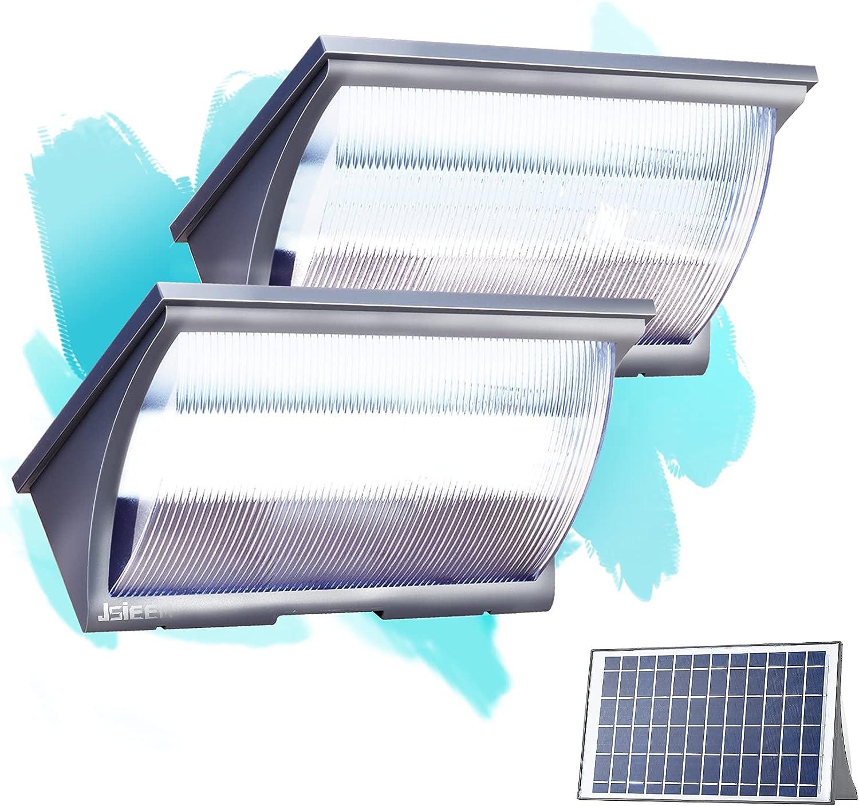 Solar LED Flood Lights Outdoor Dusk to Dawn Lighting with Motion Sensor for Backyard Garden 1200LM JSIEEM 2Pack Grey