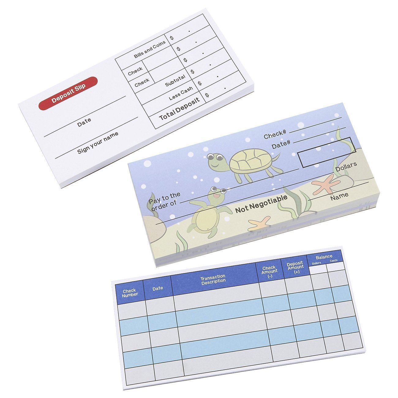 Blue Panda Play Check Set Educational Toy for Kids Promotes Financial Literacy Includes Checkbook Deposit Slip Check Register 150 Sheets Total Underwater Theme