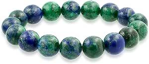Natural Multi Color Big Round Bead 12MM Strand Stackable Semi Precious Gemstone Stretch Bracelet for Men Women Unisex