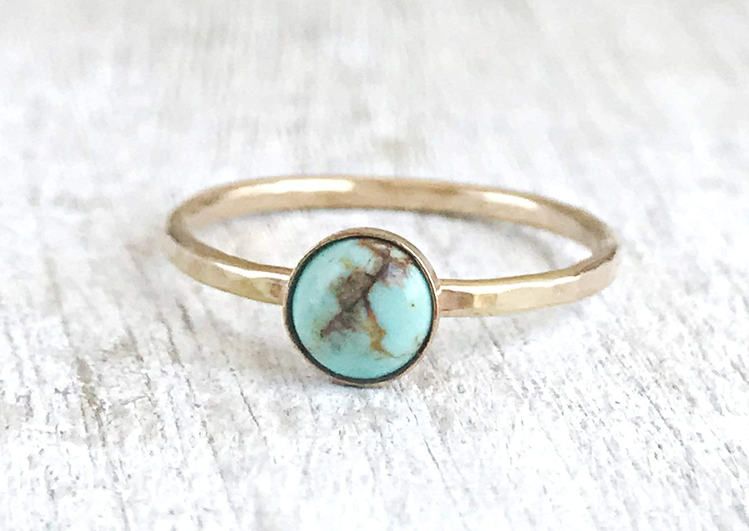 Dainty Ring Minimal Jewelry for women Hammered Ring Gift for Her Gold Turquoise Ring Turquoise Jewelry