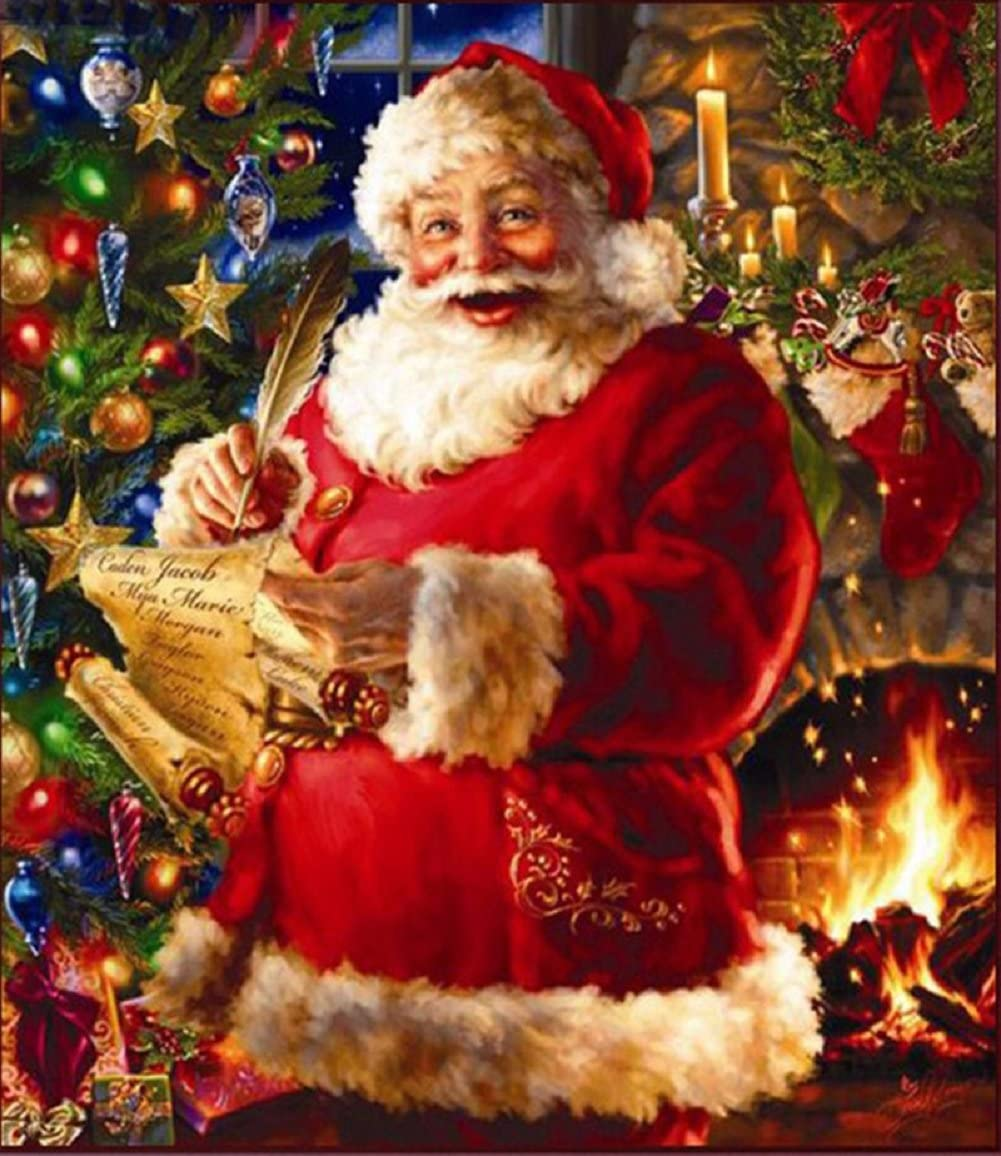 DIY 5D Diamond Painting by Number Kits, Crystal Rhinestone Embroidery Pictures Arts Craft for Home Wall Decor Gift 3040CM (Santa Claus)