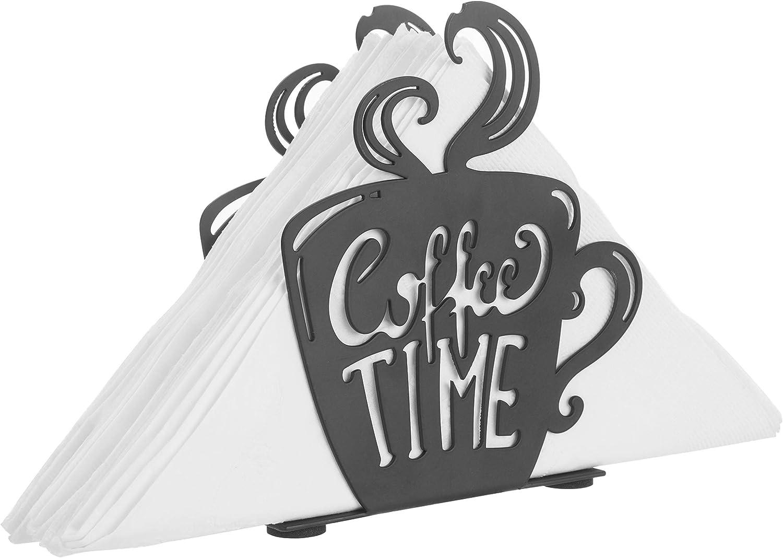 MyGift Decorative Coffee Time Mug Design Black Metal Tabletop Napkin Holder
