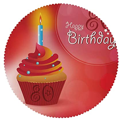 IPrint Round Tablecloth 80th Birthday DecorationsBirthday Party Cupcake With Candle And Sunbeams Image
