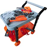 Pretend Toy Tool Kit with Rolling Stand Work Bench Perfect Gift for Boys & Girls Educational Toy Gender Neutral Colors