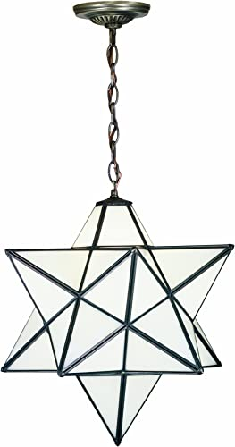 Meyda Tiffany 21842 Pendant, Mahogany Bronze Finish with Cloud White Art