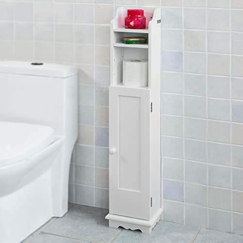 Haotian FRG177-W,White Free Standing Wooden Bathroom Toilet Paper Roll Holder Storage Cabinet Holder Organizer Bath Toilet