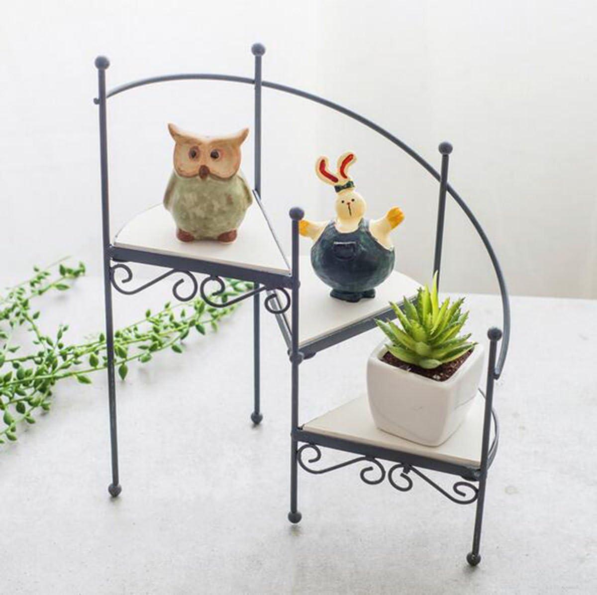 TQ 2Pcs Hierro Complejo Antiguo Arte Escalera De Caracol Flor Stand Casa Carnosas Pequeñas Maceta Ornamentos Piso Rack