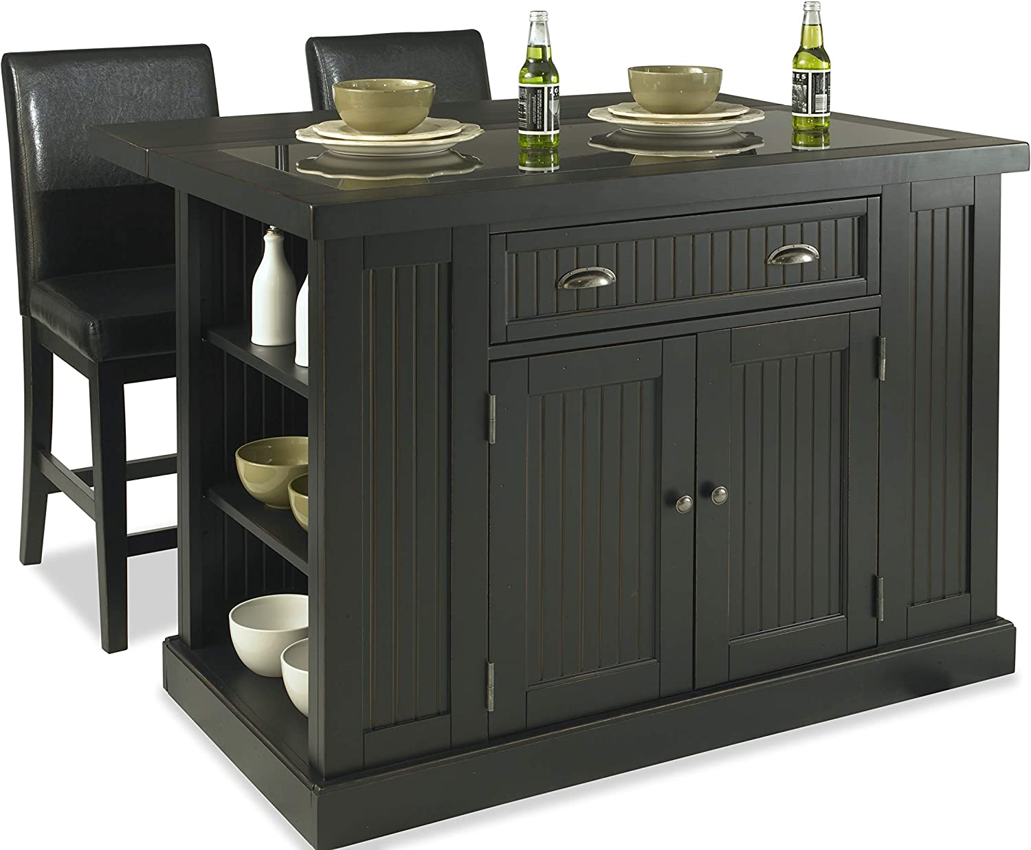 Nantucket Distressed Black Kitchen Island and Stools by Home Styles