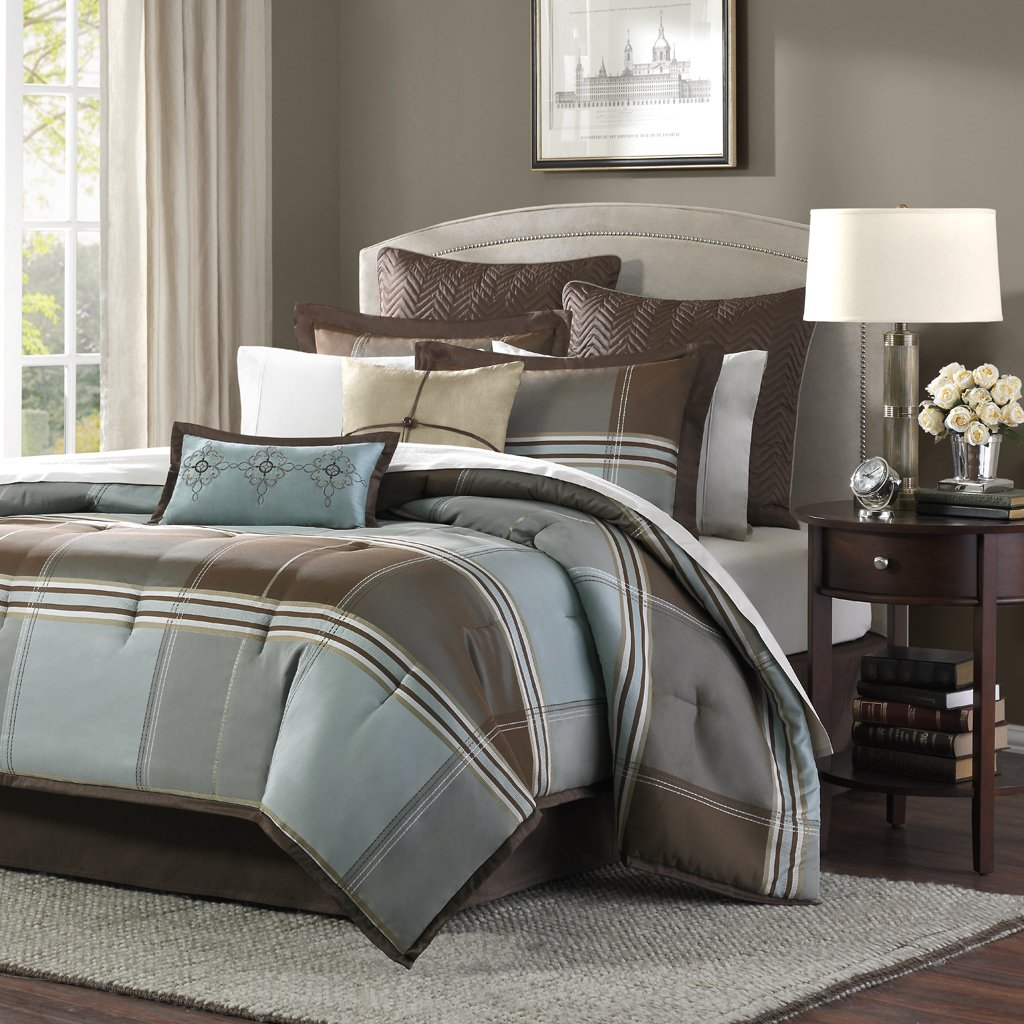 Madison Park Lincoln Square King Size Bed Comforter Set Bed in A Bag - Brown, Teal, Plaid – 8 Pieces Bedding Sets – Jacquard Faux Silk Bedroom Comforters