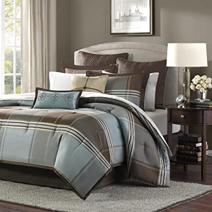 Amazon.com: Madison Park Lincoln Square Queen Size Bed Comforter Set ...