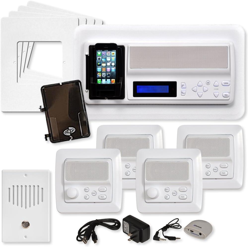 IST Retro Music & Intercom System Package, 4 Rooms (Vertical Frames), White (RETRO-MV4PAC)