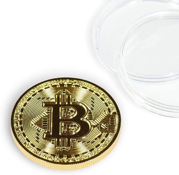 Bitcoin Gold Silver Coin collectible souvenir gift 40 mm diameter metal coin