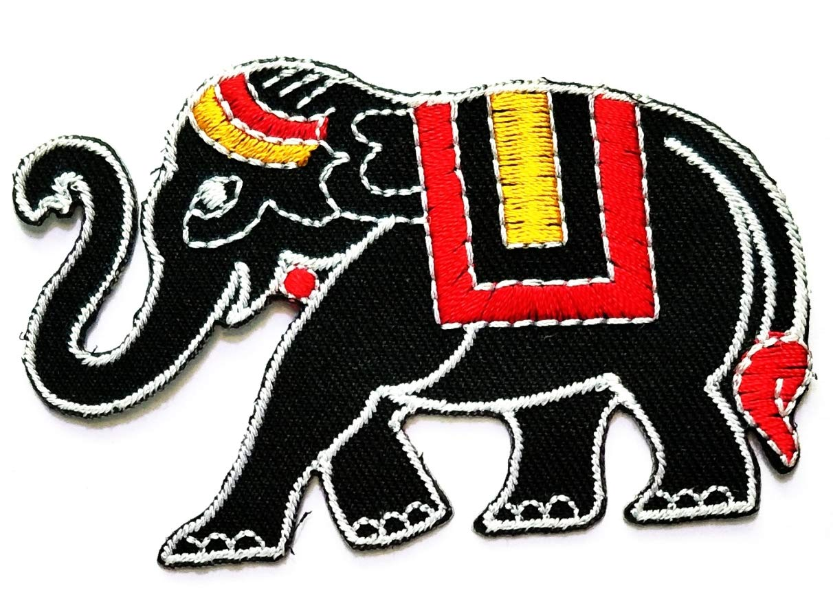 Nipitshop Patches African Elephant Novelty Animals Cartoon Children Kids Embroidered Iron Patch Sew On Patch Clothes Bag T-Shirt Jeans Biker Badge Applique for Happy Birthday Gift