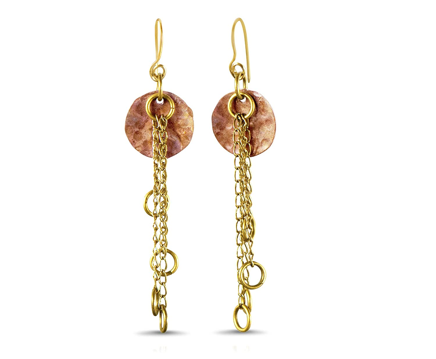 Charlene Hall Designs Moon Earrings with Antique Brass dangles