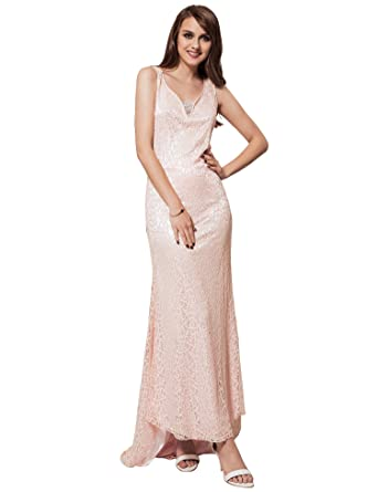 Ohyeahlady Ladies Formal Dresses Pink Lace Prom Dresses Long Evening