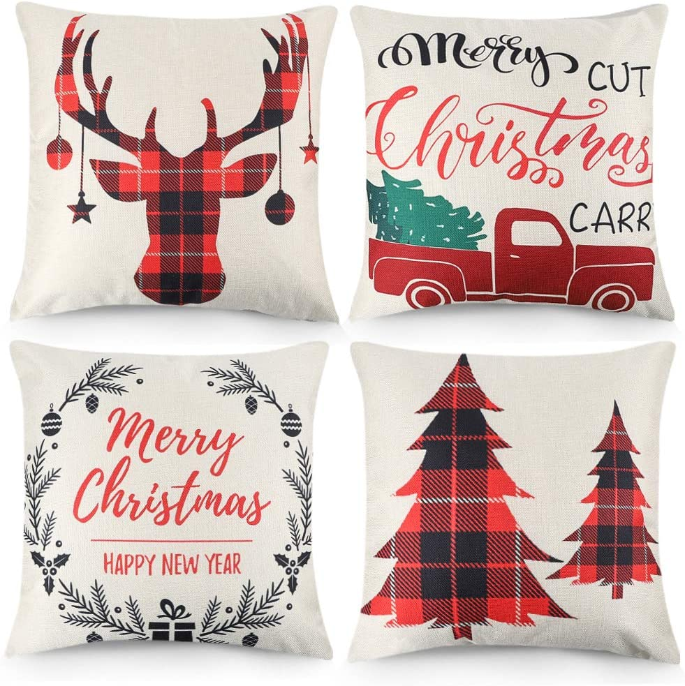 CDWERD 4Pcs Christmas Pillow Covers 18x18 Inches Red Black Buffalo Plaids Pillow Covers Farmhouse Decorative Pillowcases Cotton Linen Cushion Case for Home Decor