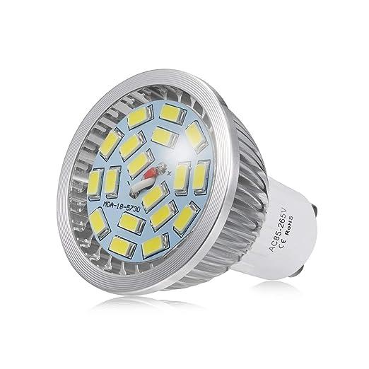 Bombillas LED GU10, 7W 18 x 5730 SMD Lámpara LED, Equivalente a 60Watt Lámpara Incandescente, Blanco Frío 6000K, 550lm, AC85-265V, 140 ° ángulo de haz, ...