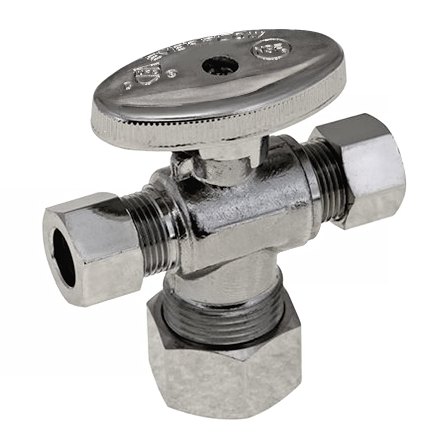 Everflow Supplies 86358PR-NL Lead Free 5//8-Inch Comp x 3//8-Inch x 3//8-Inch Compression Quarter Turn Dual Outlet Angle Valve