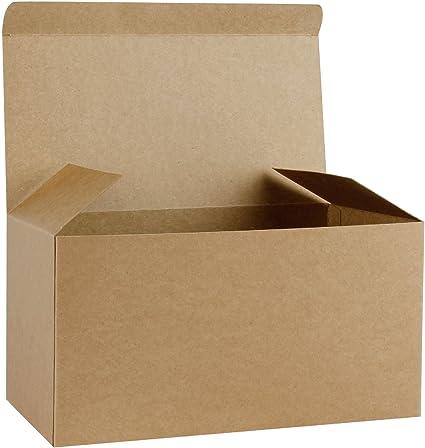 RUSPEPA Cajas De Regalo De Cartón Reciclado - Caja Decorativa Grande con Tapas para Navidad, Cumpleaños, Días Festivos, Bodas - 30.5X15.5X15.5 Cm - Paquete De 10 - Kraft: Amazon.es: Hogar