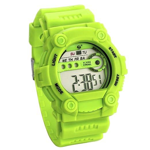 JewelryWe Relojes para Niños Niñas Reloj Deportivo Digital Con Luces Reloj Infantil Verde, Buen Regalo: Amazon.es: Relojes