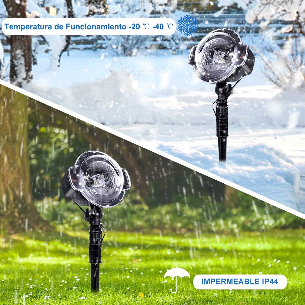 CroLED L/ámpara de Proyecci/ón LED Nieve Luz Decrativa con Control Remoto Impermeable Iluminaci/ón de Jard/ín para Fiesta Boda Celebraciones Pared Decoraci/ón Exterior LED Proyector Luces de Navidad