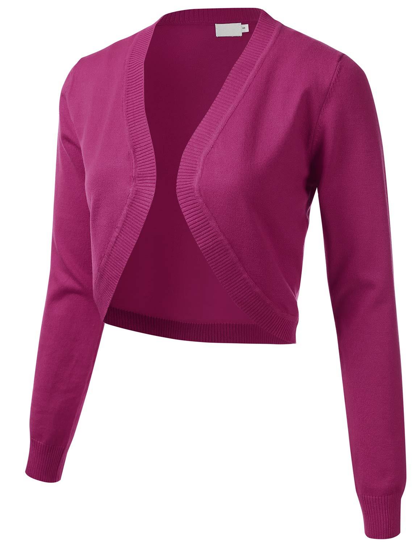 ff7e93036 Women s Cropped Open Front Bolero Shrug Long Sleeve Knit Cardigan (S-XL)  product