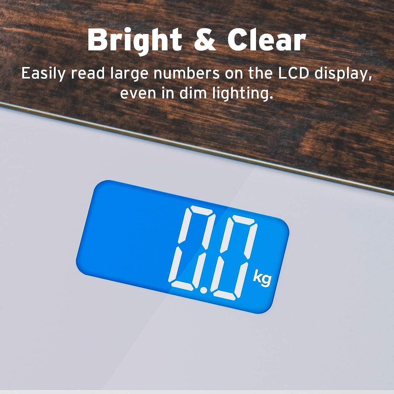 Metro Nastro Incluso Bilancia Pesapersone Digitale 180kg//400lb con Lettura Grande Graduazione 0,1kg Etekcity Bilancia Pesa Persone Professionale Elettronica LCD Display Retroilluminato Blu